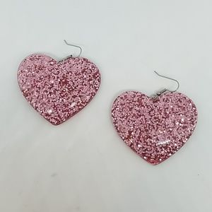 Crazy cupid pink glitter heart earrings new